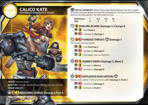 A stat card for Calico Kate, Relic Knight for the Star Nebula Corsairs.